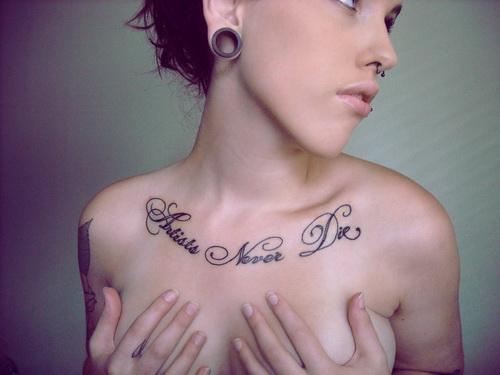 Collar chest script tattoo idea for woman