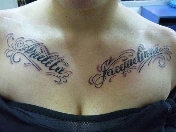 83477ef50 Chicano style names tattoo design on collar bones