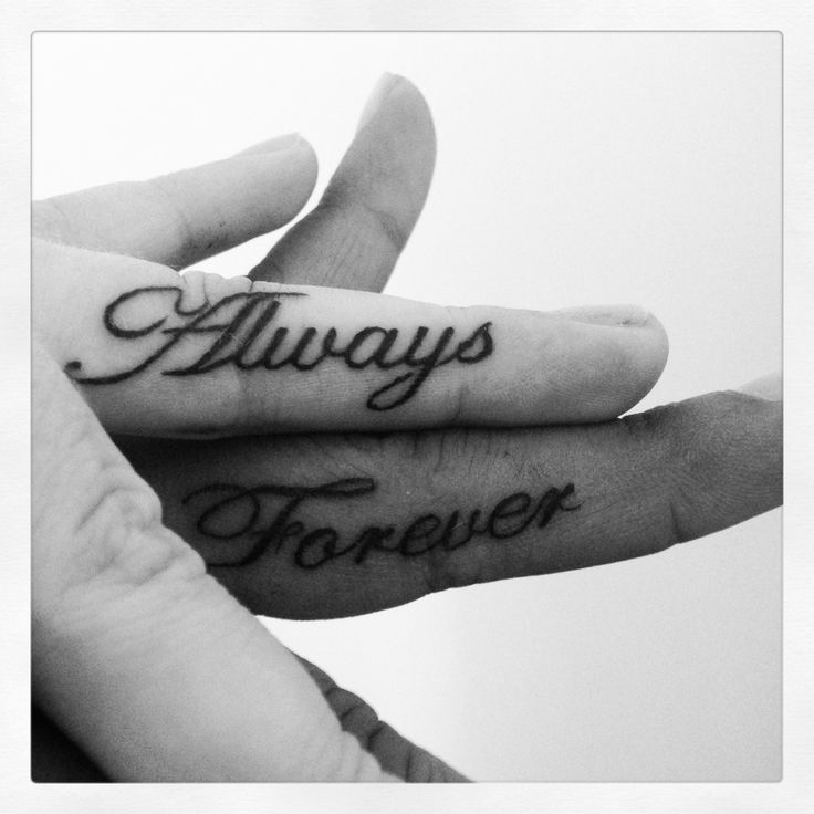 Words Always and Forever tattoo design - wedding tattoo idea for couples