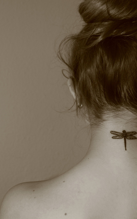 Dragonfly neck tattoo designs ideas for female