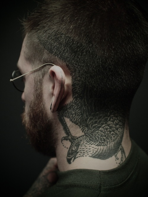 Eagle neck tattoo designs for men