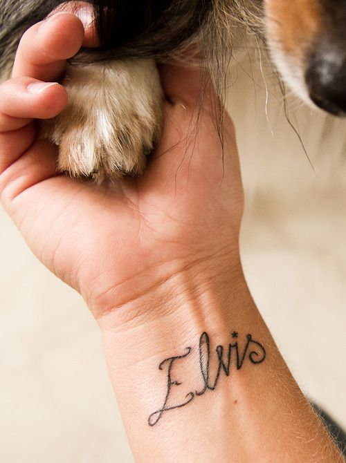 Dog Elvis name tattoo design on wrist