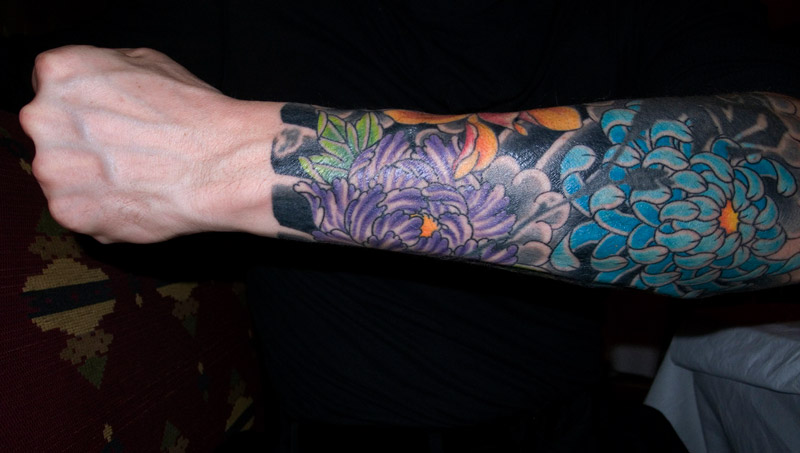 Man arm sleeve tattoo ideas flower