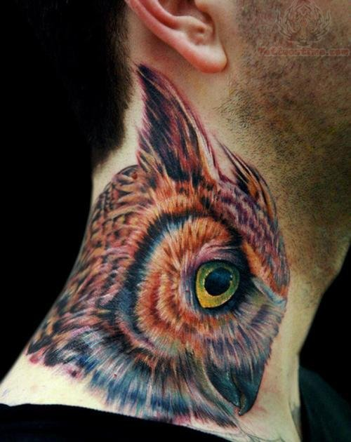 Colorful owl neck tattoo design