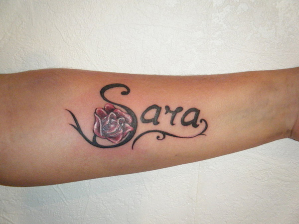 Sara Name Tattoo Design with Flower