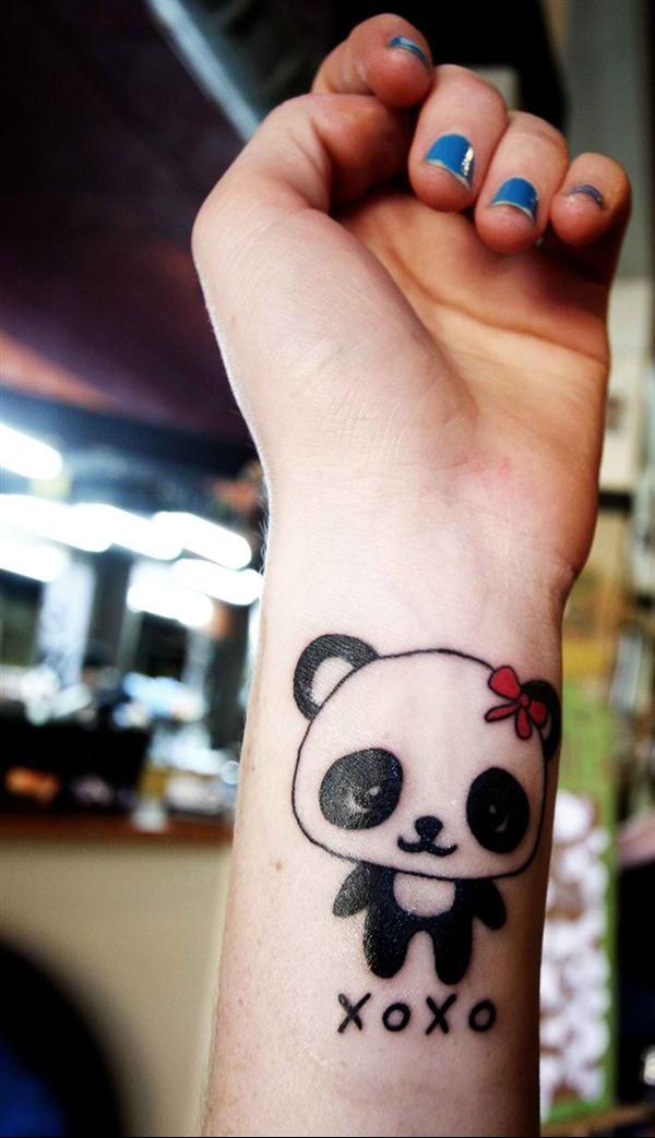 Panda tattoo design on wrist - wrist tattoo for women