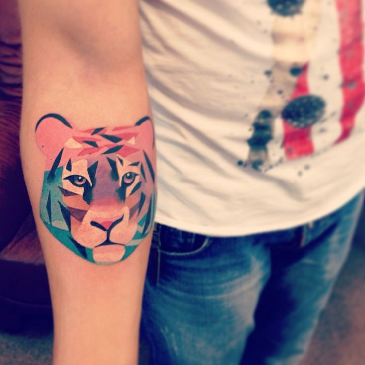 Tiger head tattoo designs on forearm