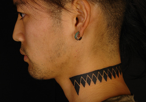 Tribal triangle tattoo designs - man neck tattoo