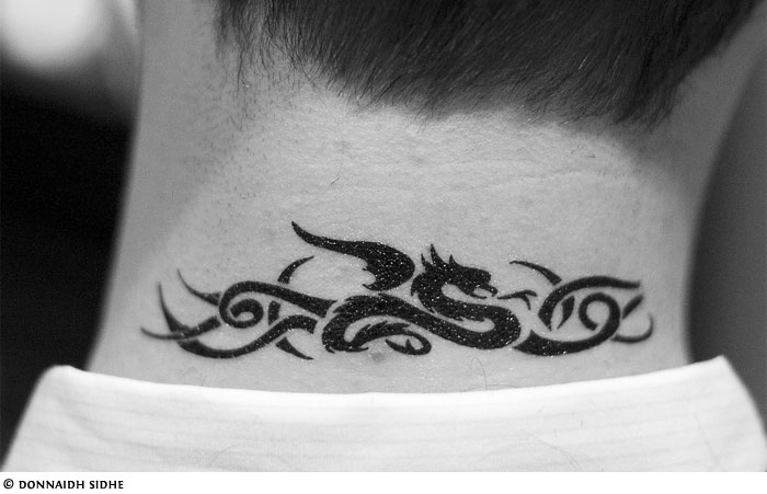 Tribal dragon neck tattoo ideas