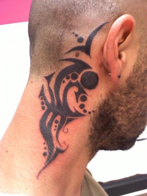 Tribal neck tattoo designs for men