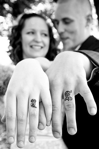 Wedding ring tattoo idea - Initials tattoo design on finger for couples
