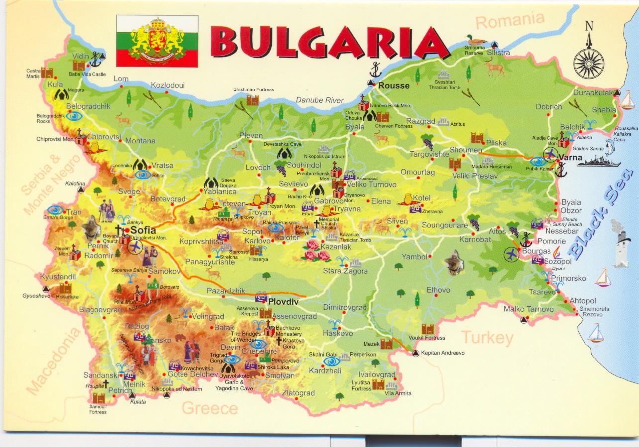 Mapa Monumentos da Bulgária