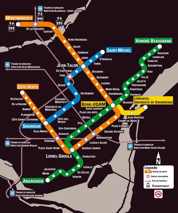 Mapa do Metro de Montreal
