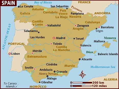 Mapa de Espanha Lonely Planet