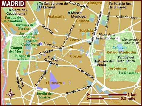 Mapa Madrid Lonely Planet