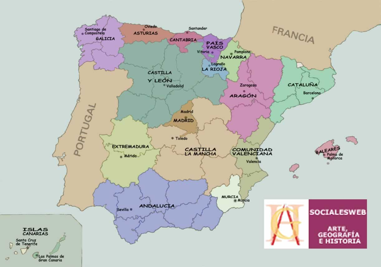 mapa de espanha por regioes Mapas das Regiões e Comunidades Autónomas de Espanha mapa de espanha por regioes