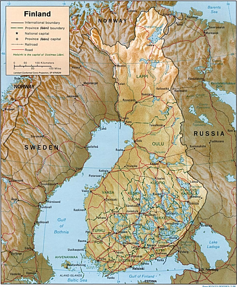 Mapa da Finlandia