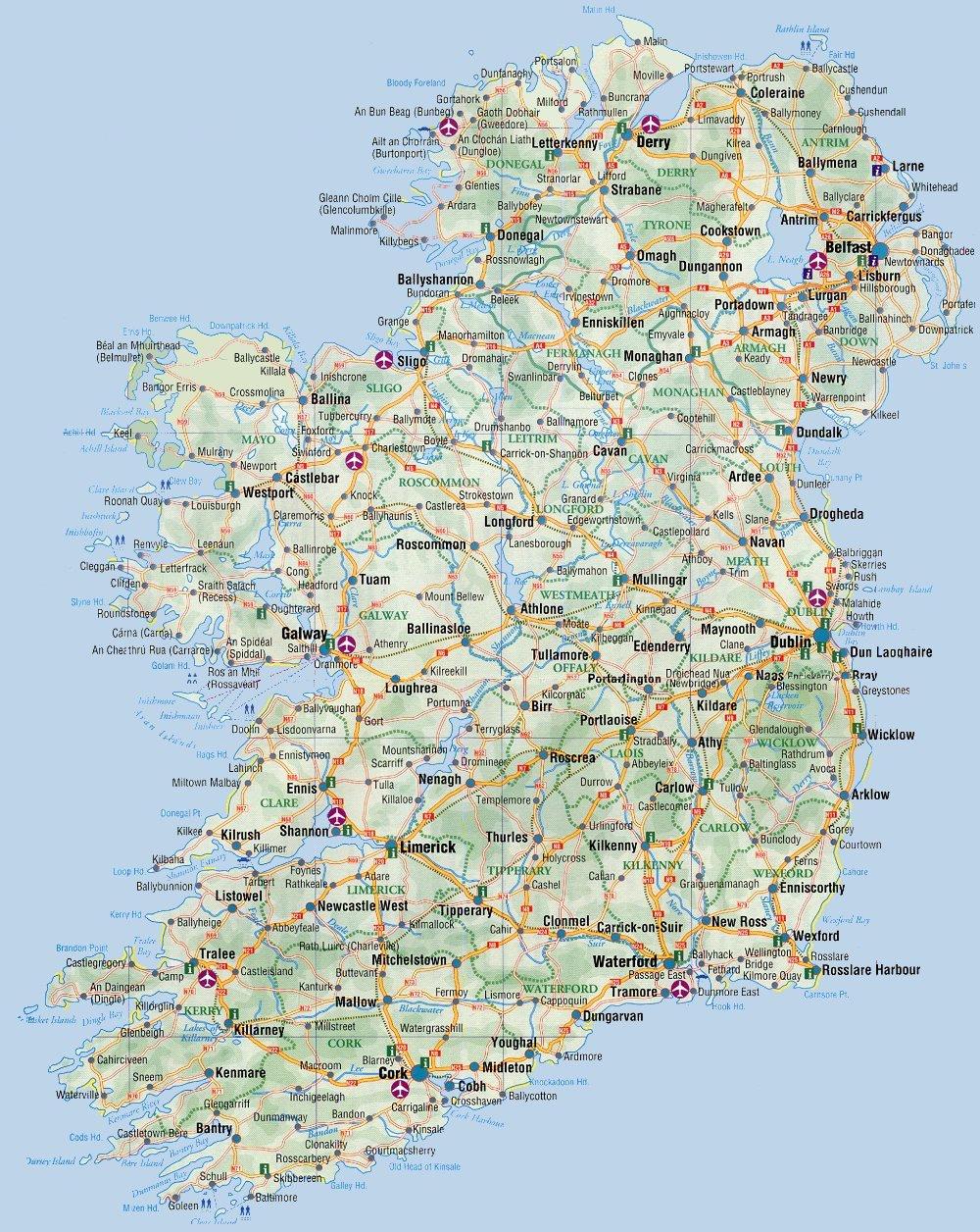Mapa de Estradas da Irlanda