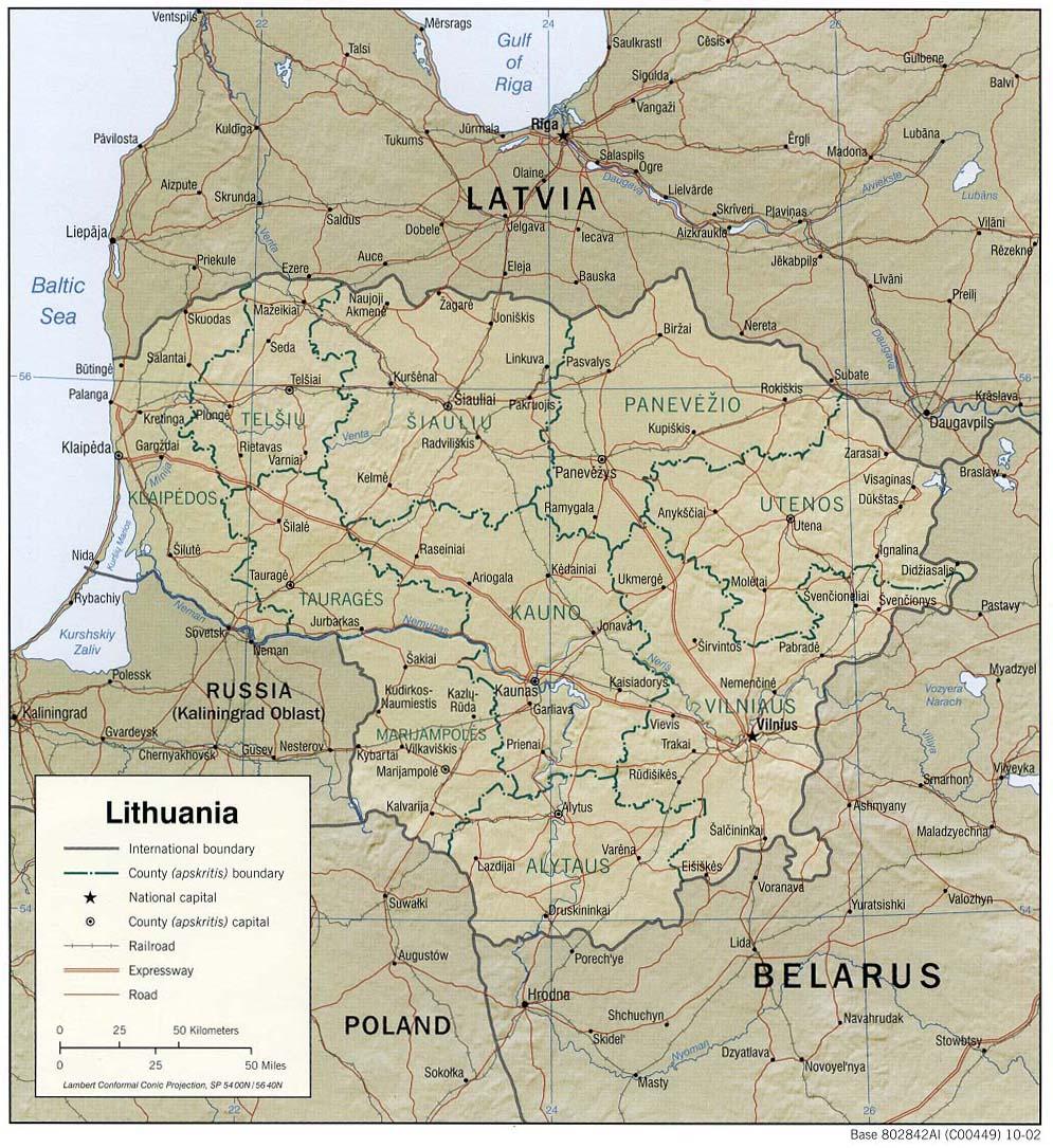 Mapa Grande da Lituania