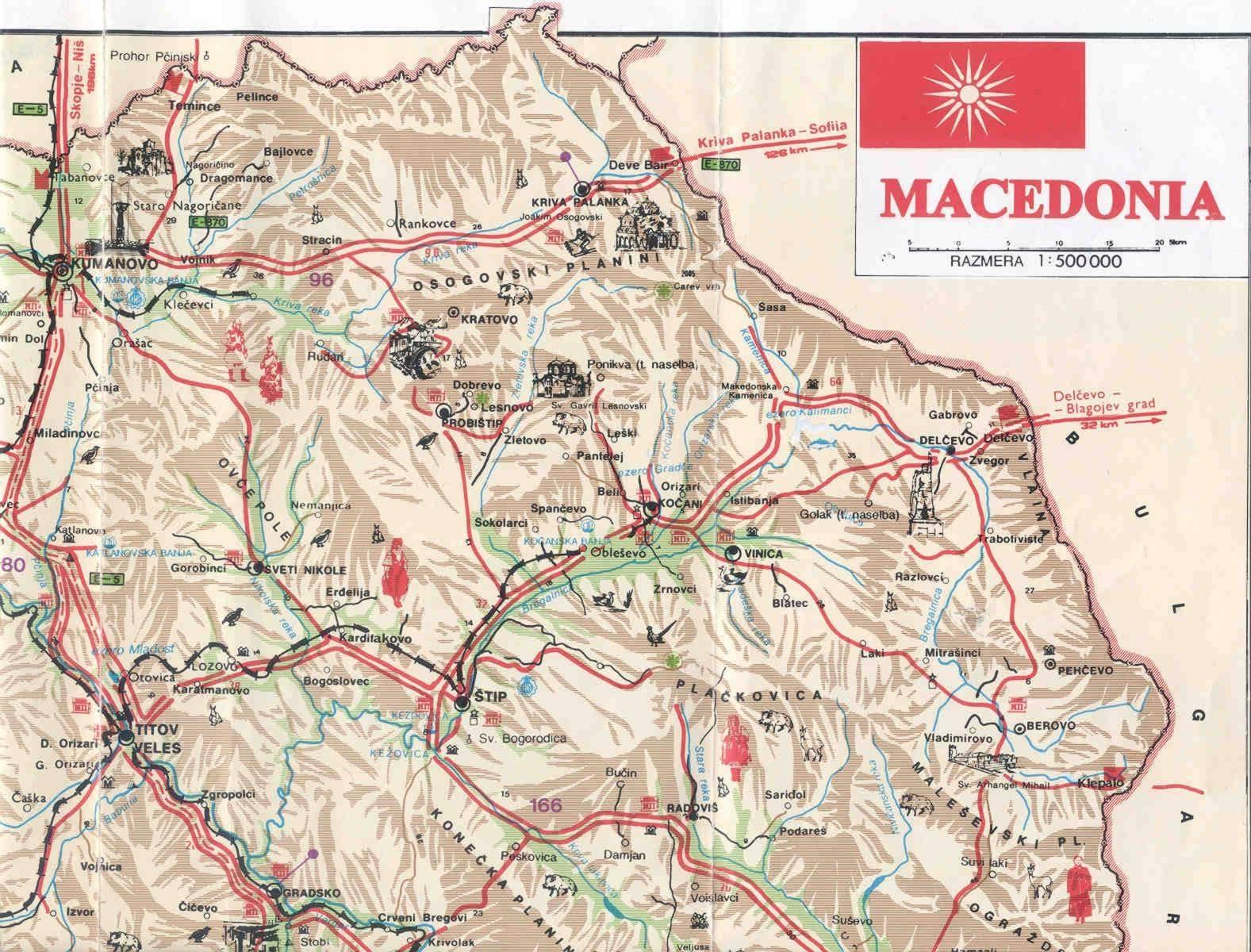Mapa do Nordeste da Macedónia