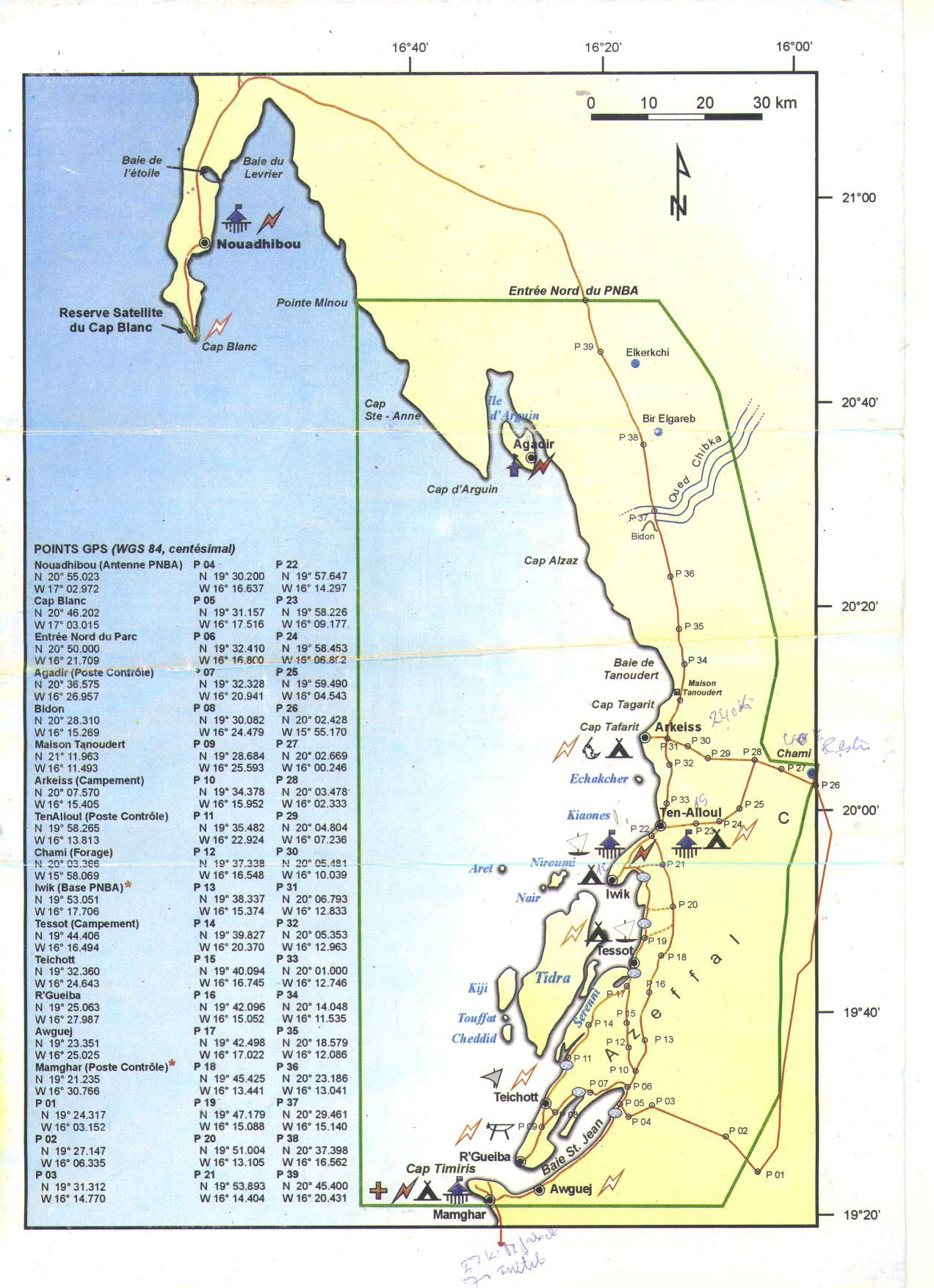 Mapa do Parque Nacional do Banco de Arguim, Mauritânia