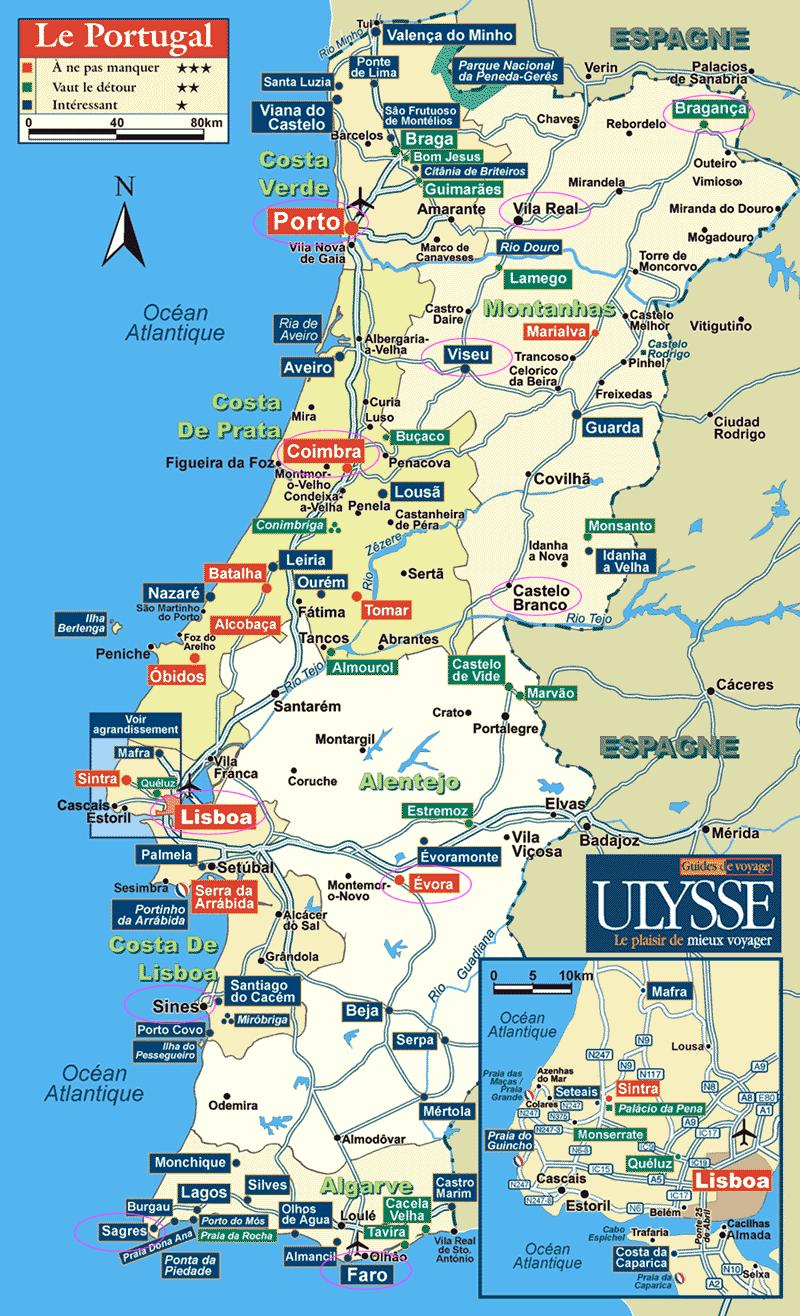 mapa portugal alentejo litoral Mapa dos Melhores Destinos de Portugal, TOP 10 para Visitar mapa portugal alentejo litoral
