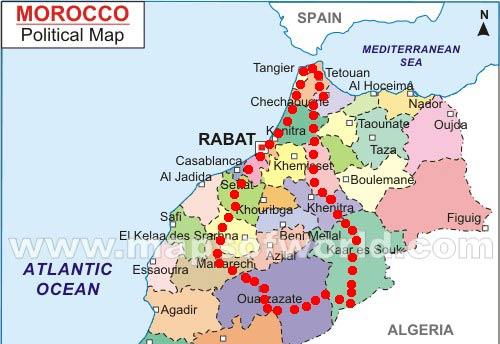 Mapa Percurso Marrocos