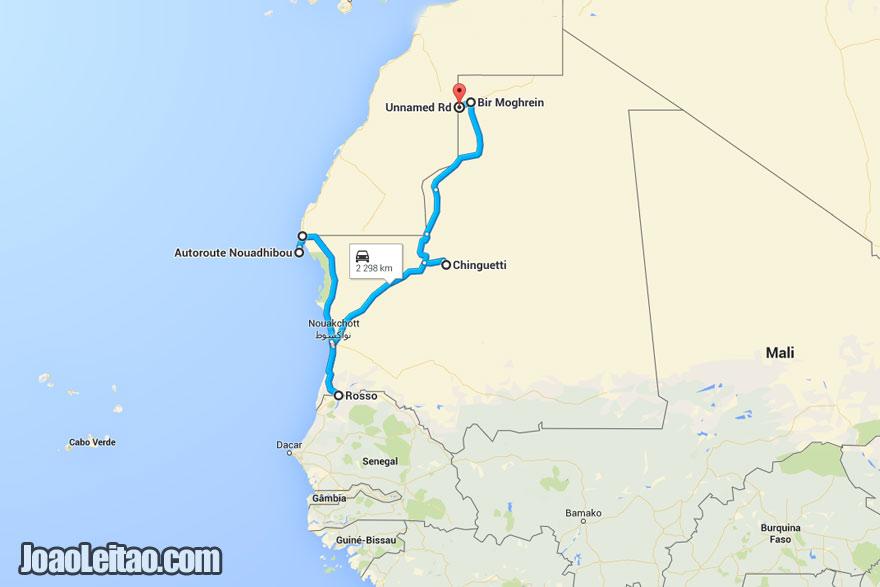 Mapa da Viagem de Carro na Mauritânia