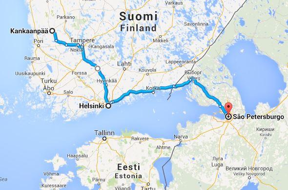 Mapa do percurso Kankanpää-Helsinquia-São Petersburgo-797km