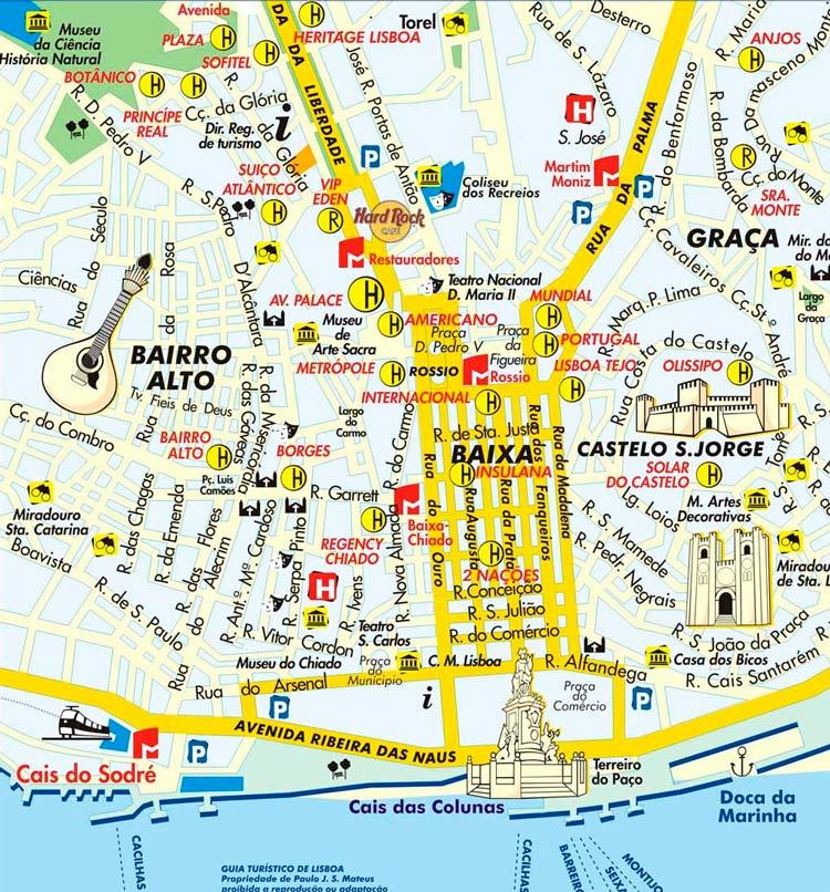 mapa do centro de lisboa Hotéis em Lisboa, Guia de Alojamento | Roteiros e Dicas de Viagem mapa do centro de lisboa