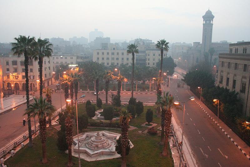Vista da janela no Hotel al Hussein no Cairo, Egito