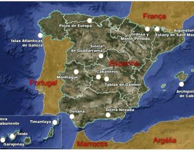 Mapa de Parques Nacionais em Espanha