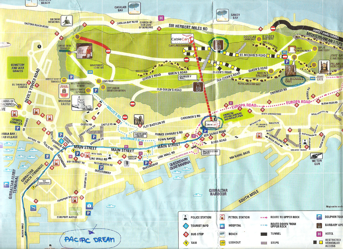 Mapa do centro de Gibraltar