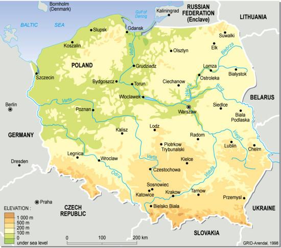 Mapa Geográfico da Polónia