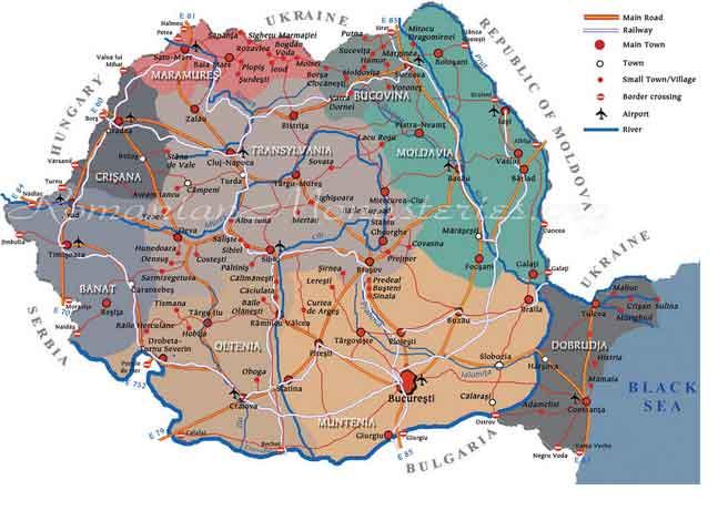 Mapa da Roménia
