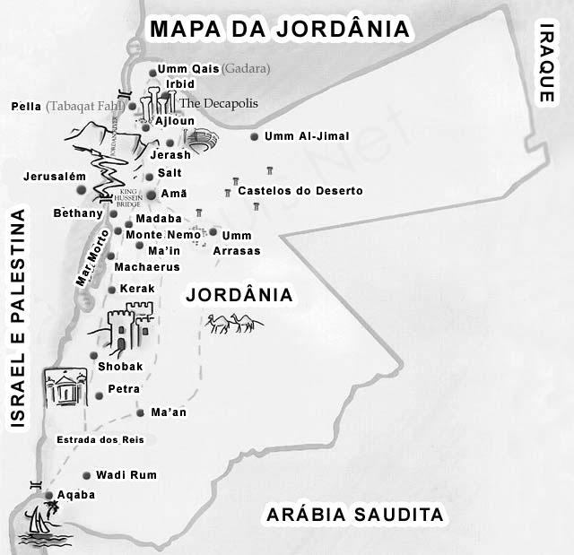 Mapa da Jordânia