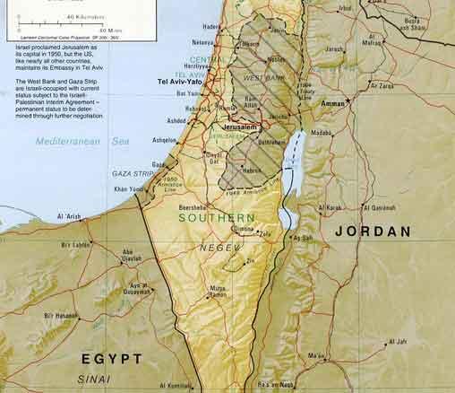 Mapa da Palestina e Israel