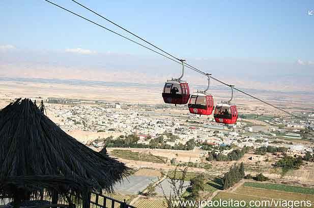 Teleférico Monte das Tentações de Cristo em Jericó, Cisjordânia Palestina