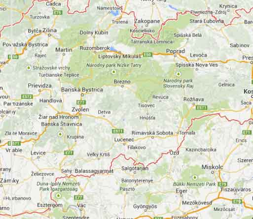 Mapa Google Eslováquia