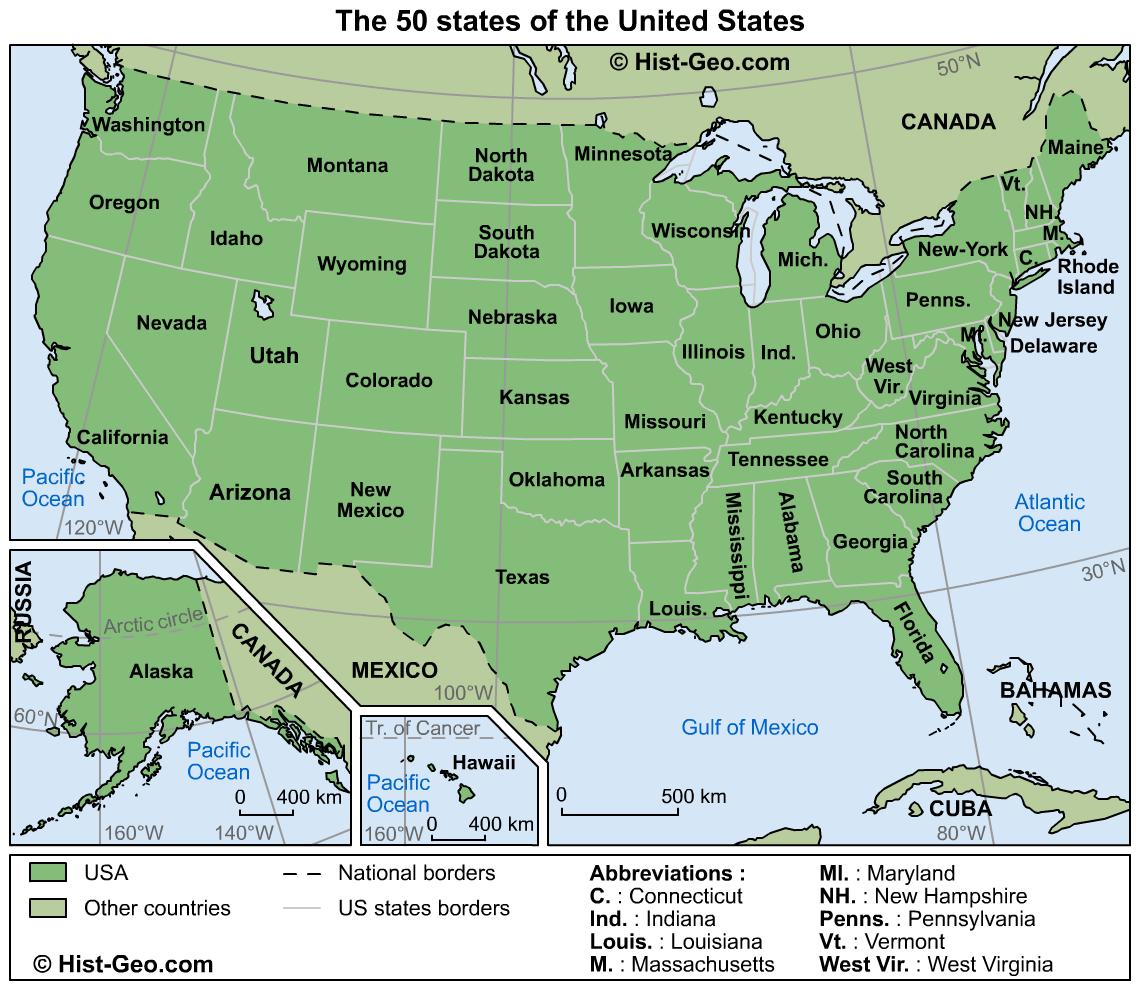 Mapa dos 50 estados dos Estados Unidos