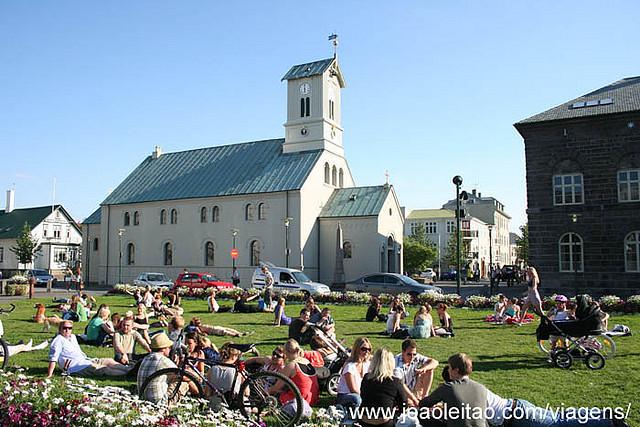 Centro da cidade de Reykjavik na Islandia