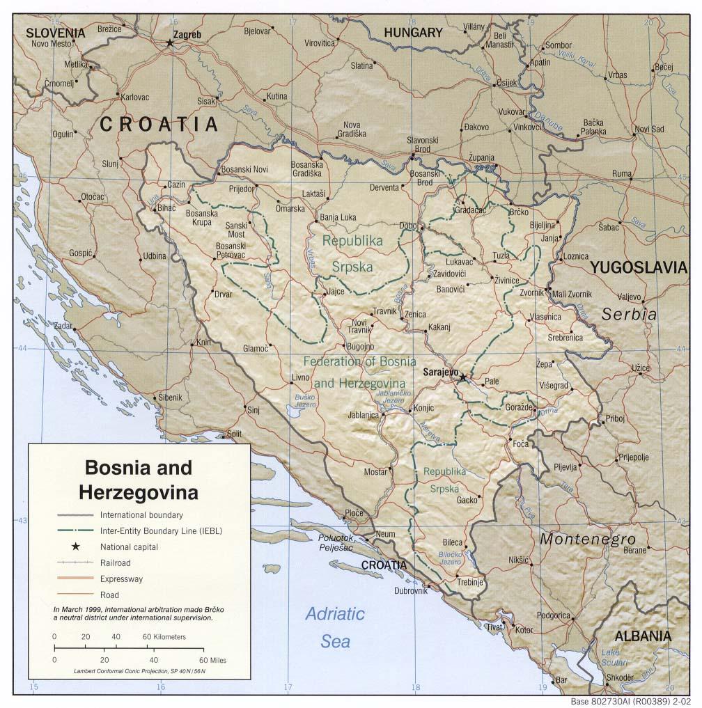 Mapa Grande da Bósnia e Herzegovina 2