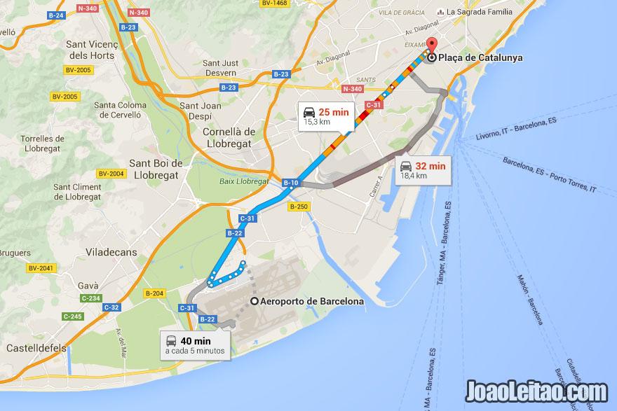 Mapa autocarro (ônibus) itinerário Aeroporto Barcelona-El Prat até ao centro da cidade