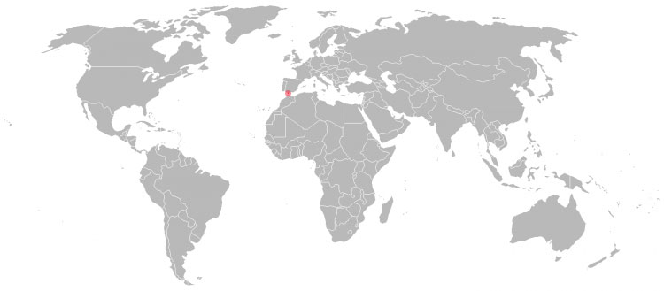 Mapa de Gibraltar no Mundo
