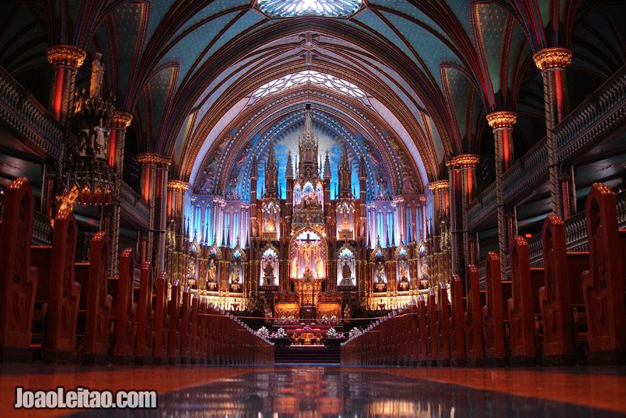 Interior da catedral de Montreal, Visitar o Canadá