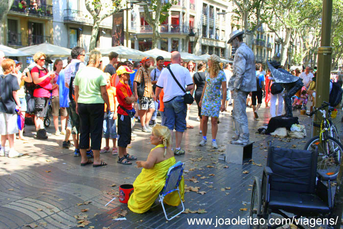 Animação de rua em La Rambla