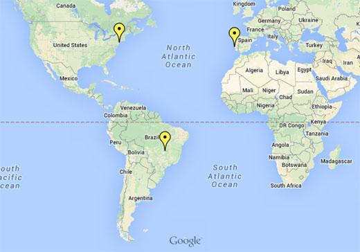 Mapa de Nova Iorque no Mundo, Lisboa Portugal, Brasília Brasil
