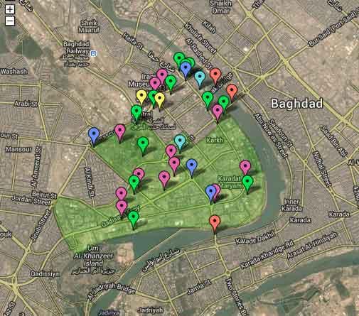 Mapa da Zona Internacional no Baghdad, Iraque
