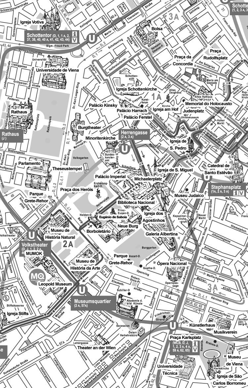 Mapa dos Monumentos no Centro de Viena