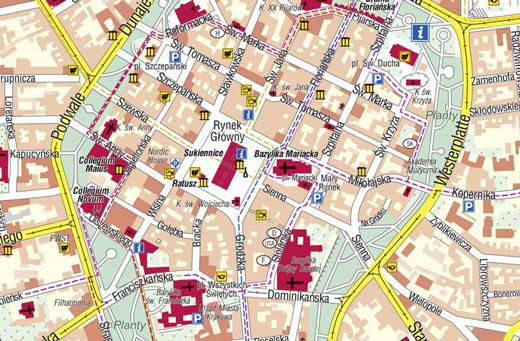 Mapa de Monumentos Cracóvia, Polónia